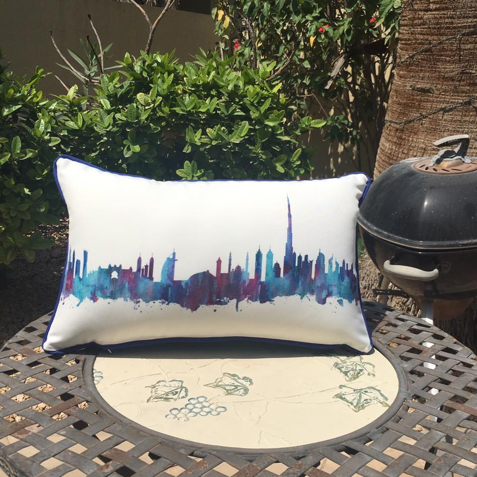 Dubai Skyline Waterproof Outdoor Cushions British Mums