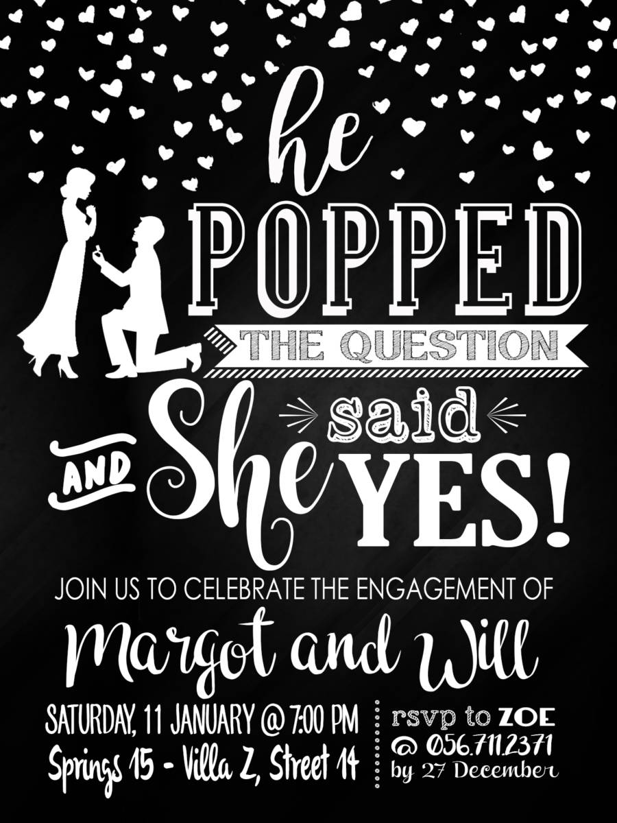 graphic about He Popped the Question Printable titled Printable Indications and Invitations - British Mums